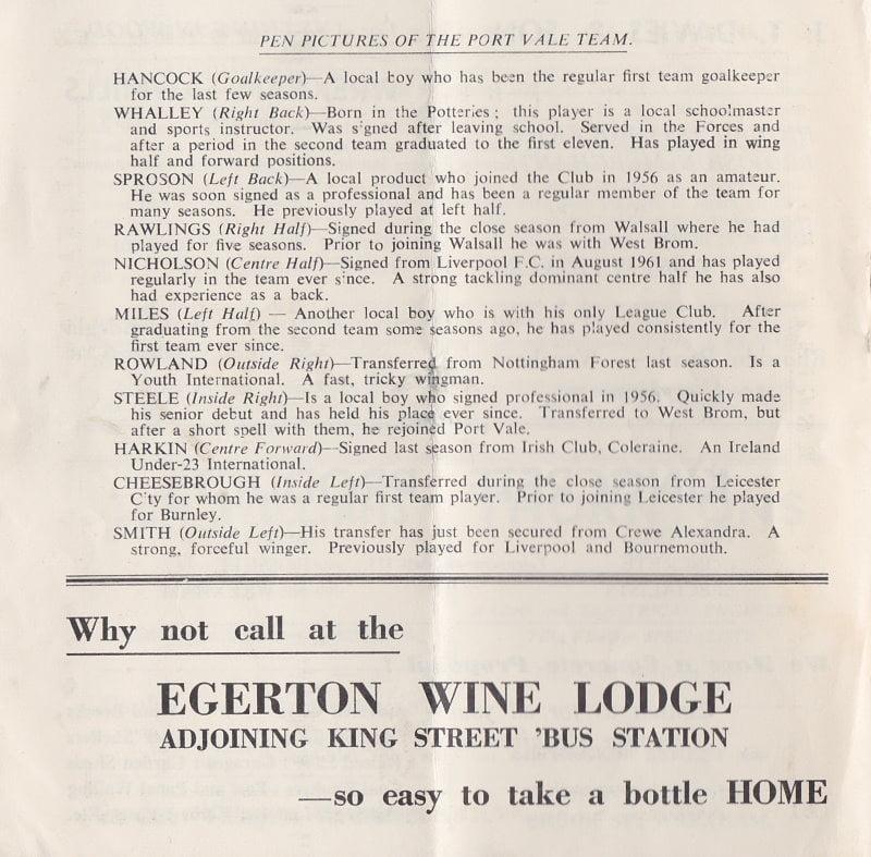 Wrexham vs Port Vale programme 1963 #3