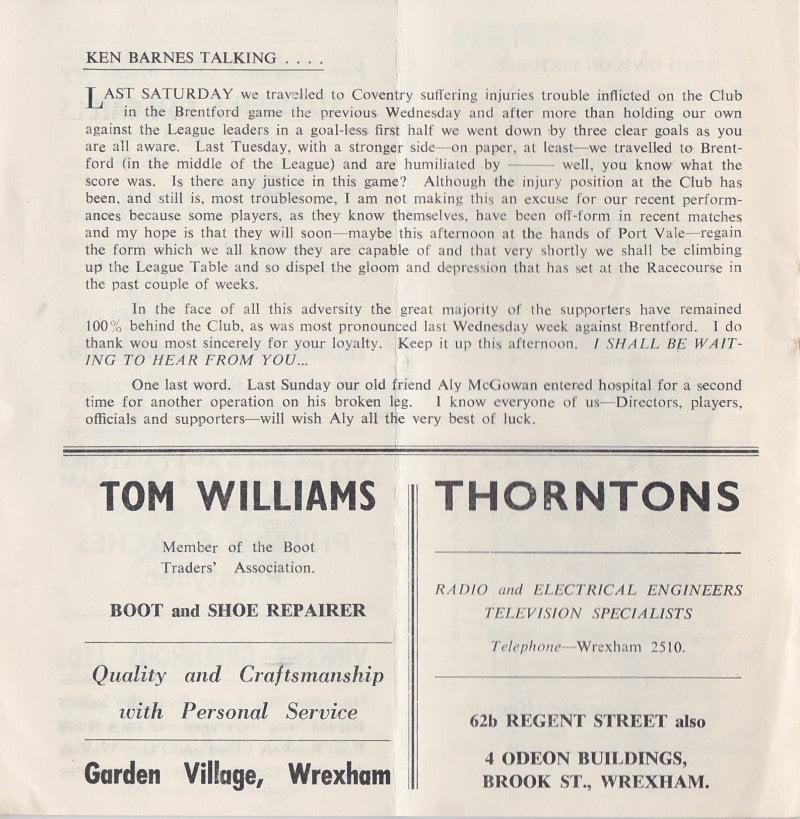Wrexham vs Port Vale programme 1963 #5