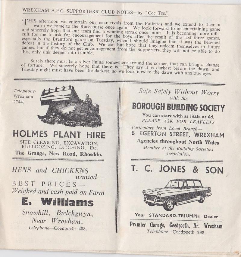 Wrexham vs Port Vale programme 1963 #7