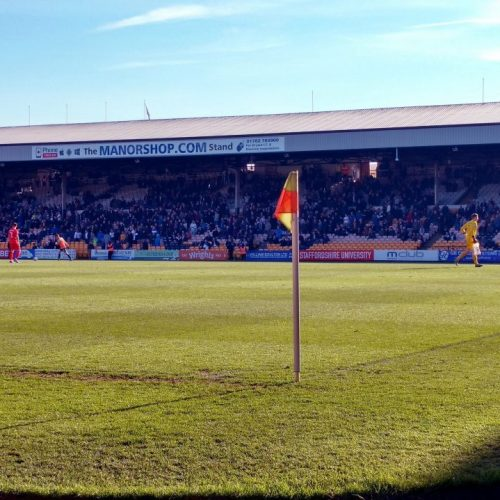 Corner flag at Vale Park stadium