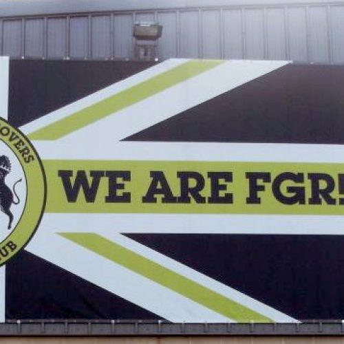Forest Green Rovers sign on side of stadium