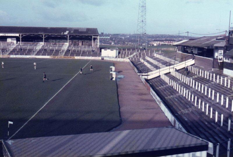 Vale Park - the Lorne St and Bycars terraces in the 1980s