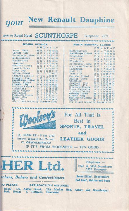 Scunthorpe United v Port Vale 1960