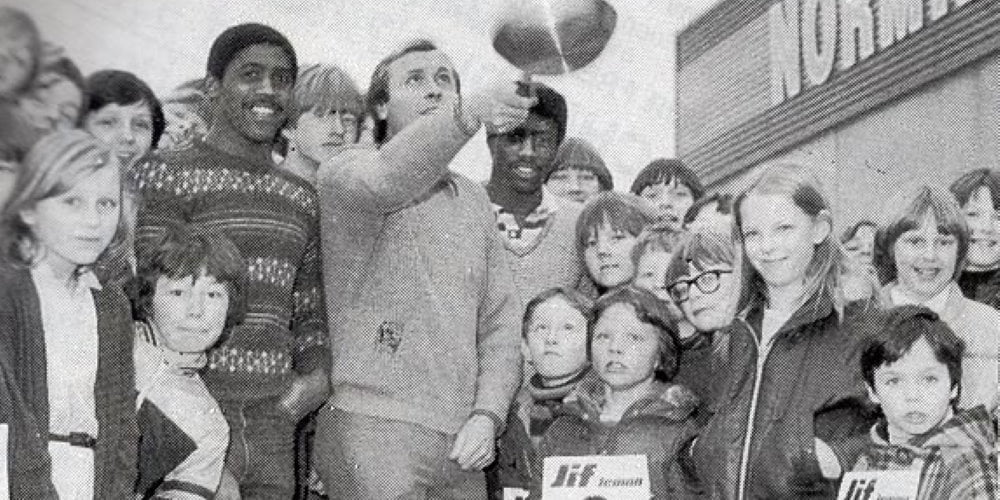 Neville Chamberlain and Jimmy Greenoff flip pancakes in the early 80s