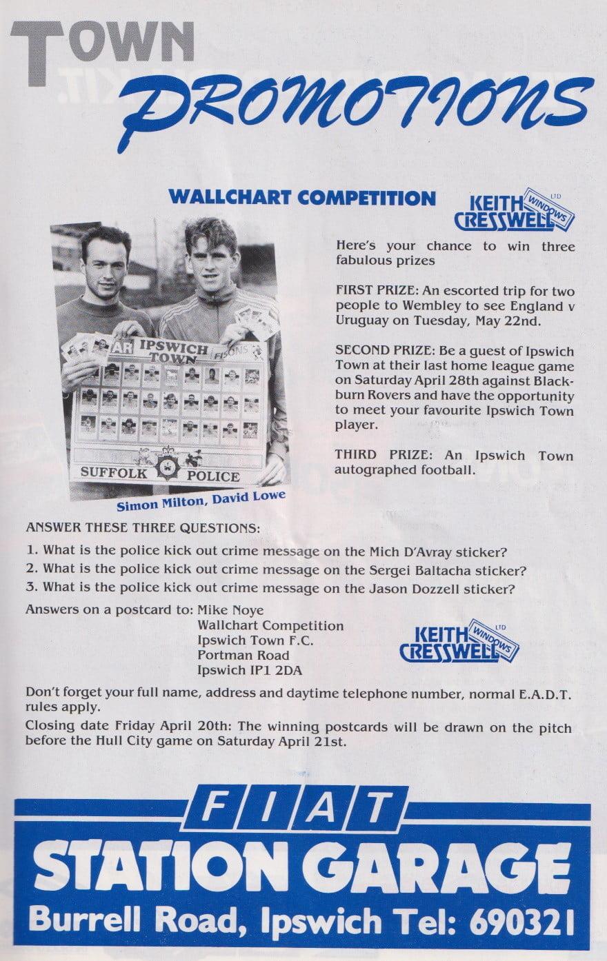 Ipswich Town v Port Vale programme,1990