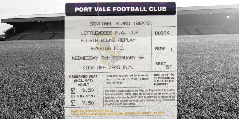 Port Vale v Everton FA Cup replay ticket 1996