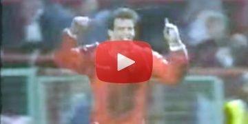 Port Vale striker Andy Jones celebrates scoring for Wales against Finland, 1986