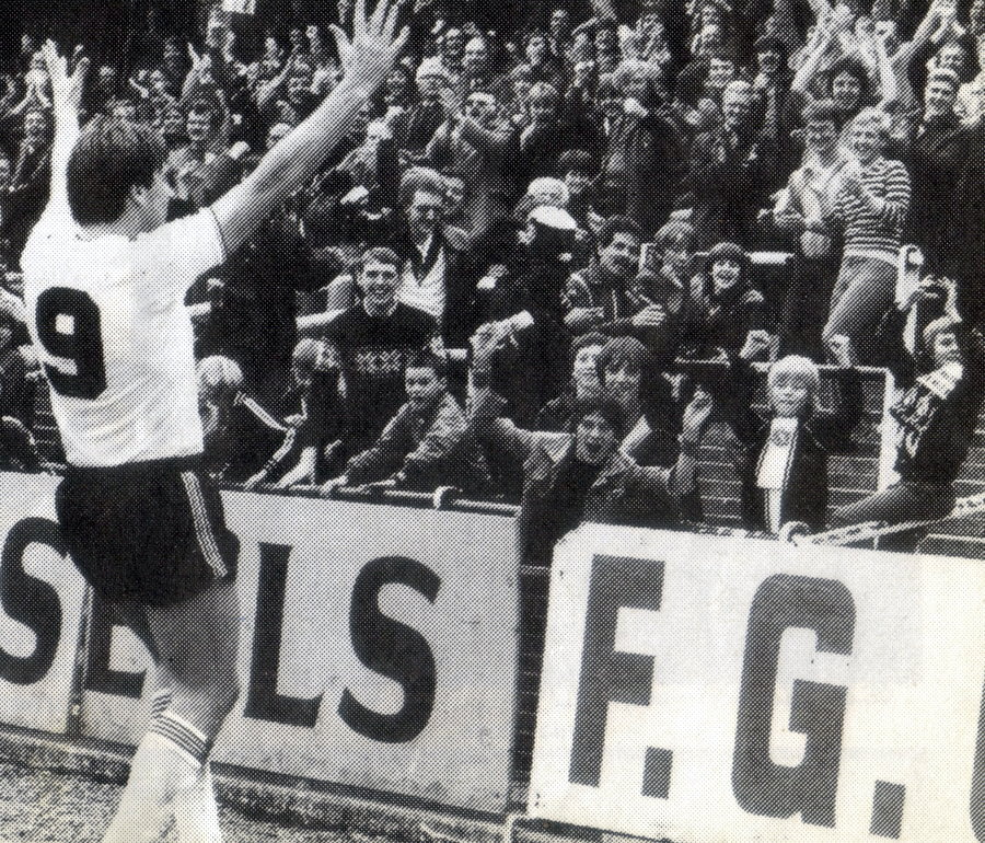 Port Vale striker Bob Newton in front of fans 1982-83