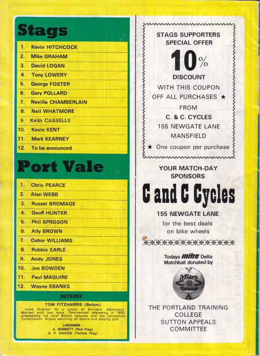 Mansfield Town v Port Vale programme, 1985