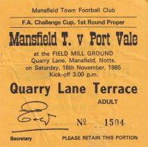 Mansfield Town v Port Vale 1985 ticket