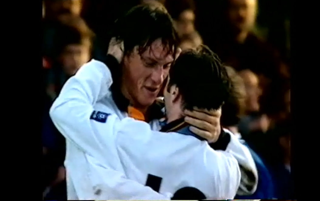 Lee Mills and Tony Naylor celebrate