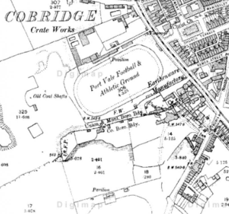 The location of the Cobridge Athletic Ground