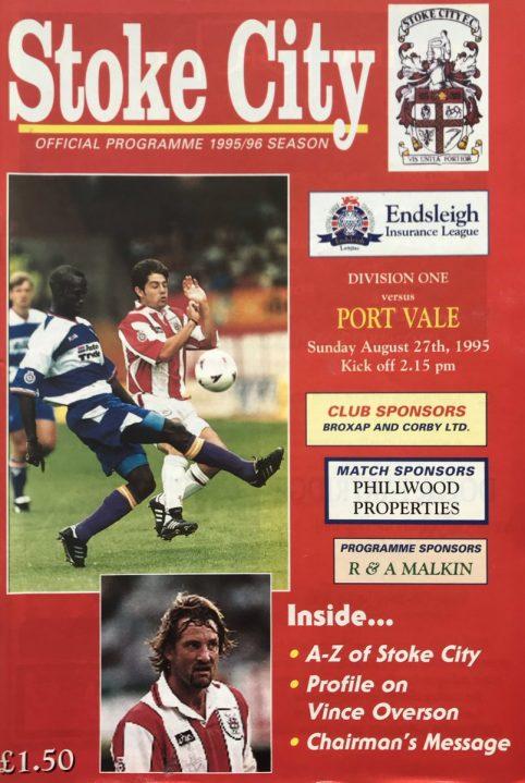 Stoke City v Port Vale programme August 1995