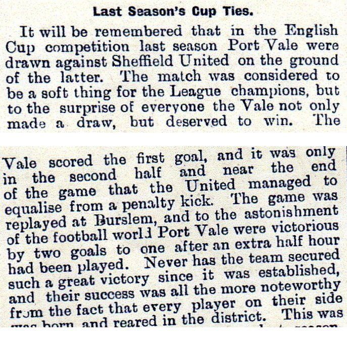 Golden Penny clipping on Port Vale 2-1 Sheff Utd 1898