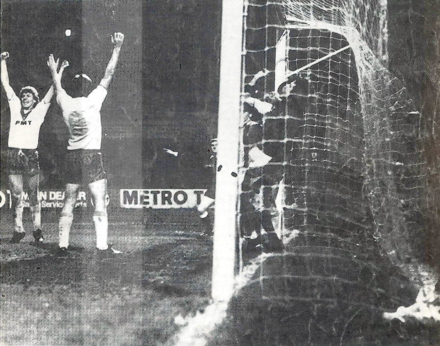 Jim Steel scores against Stockport County, 1983