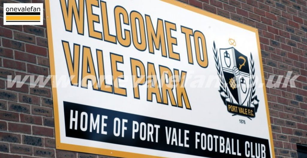 Sign at the Vale Park stadium 2020