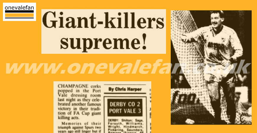 The Sentinel report on Derby County 2-3 Port Vale, FA Cup, 1990