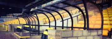 The benches at Vale Park stadium