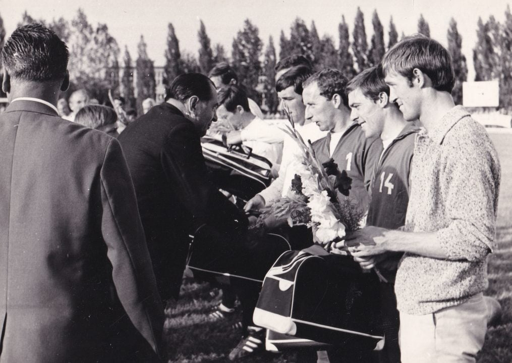 Pre-match at Skuter featuring Mick Morris, Mick Mahon and Harry Poole receiving flowers.
