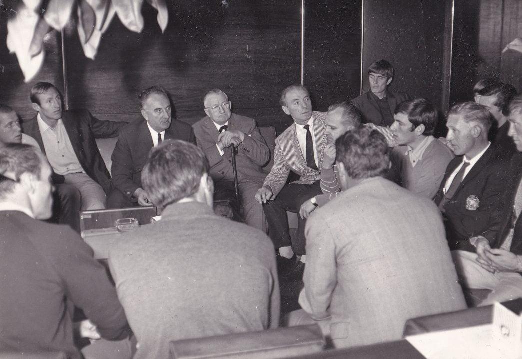 Terry Miles, Roy Chapman, Alderman Barber, Mr Burgessw, Sir Stanley Matthews, John James, Mick Cullerton, Len Graham and Mick Morris.