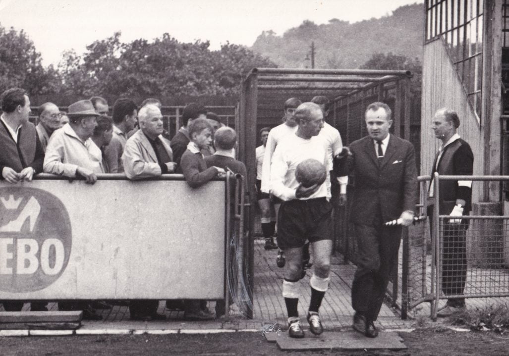Sir Stanley Matthews leads the team out for the first friendly match at Gottvaldov.