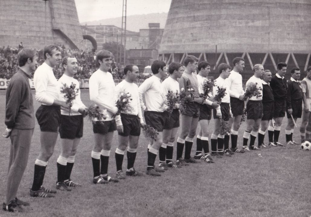 The Port Vale team lines up for the first friendly match at Gottvaldov.