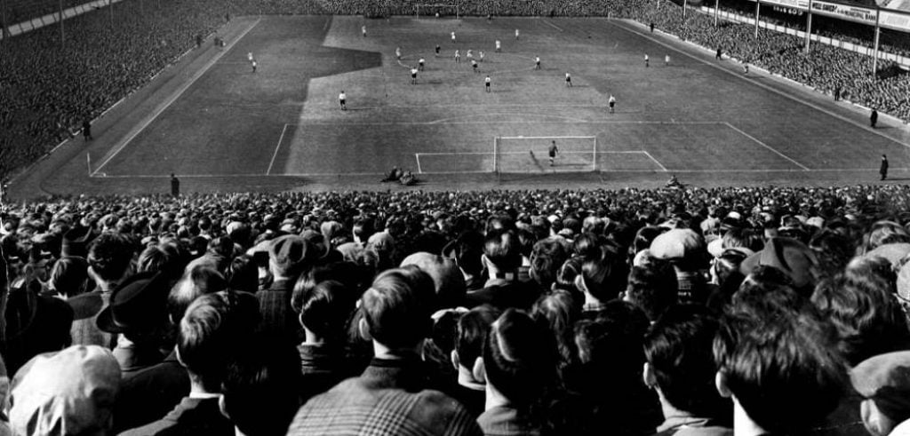 The crowd at the 1954 FA Cup semi-final at Villa Park