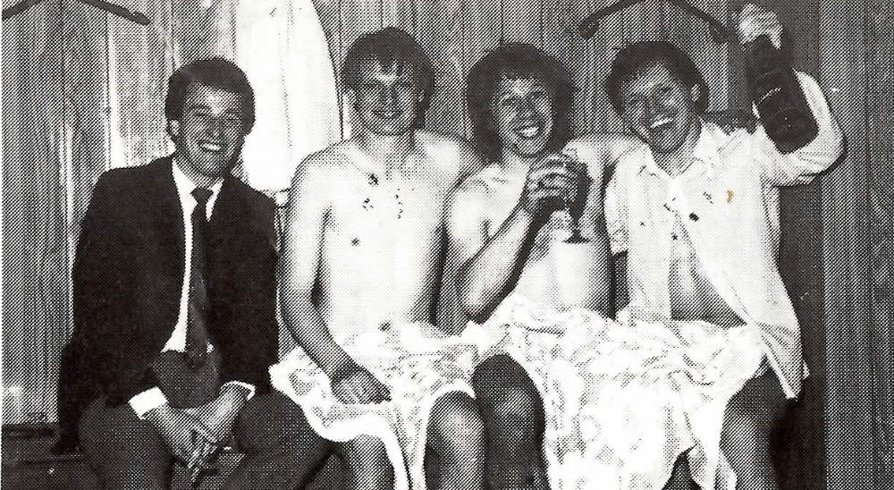Port Vale players celebrate promotion in 1983