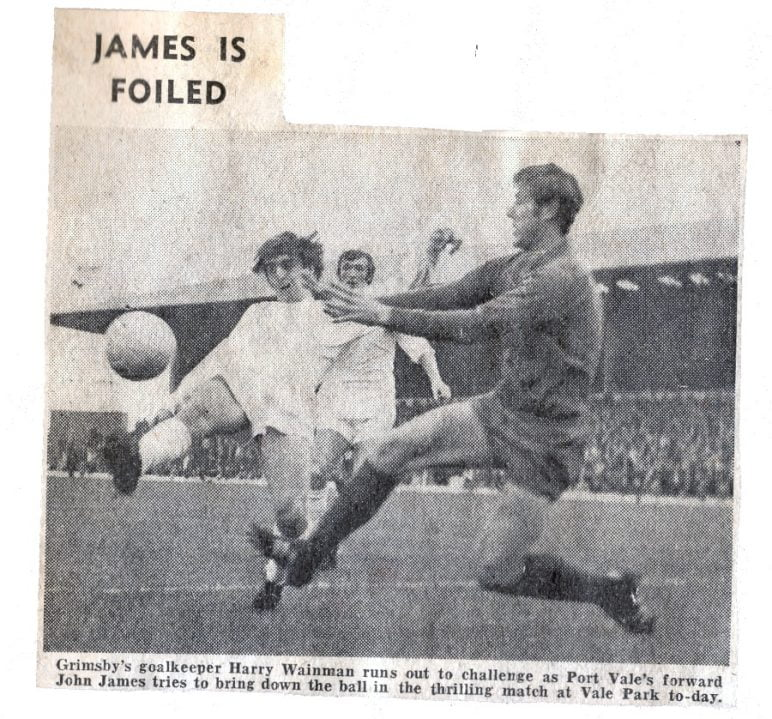 A press clipping of Port Vale player John James