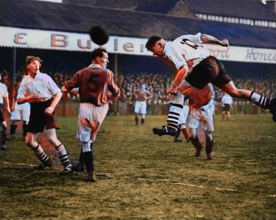 Port Vale in action at the Old Rec in 1948 - colourised version