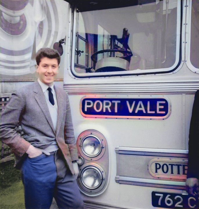Ken Hancock in front of the Port Vale coach - colourised version