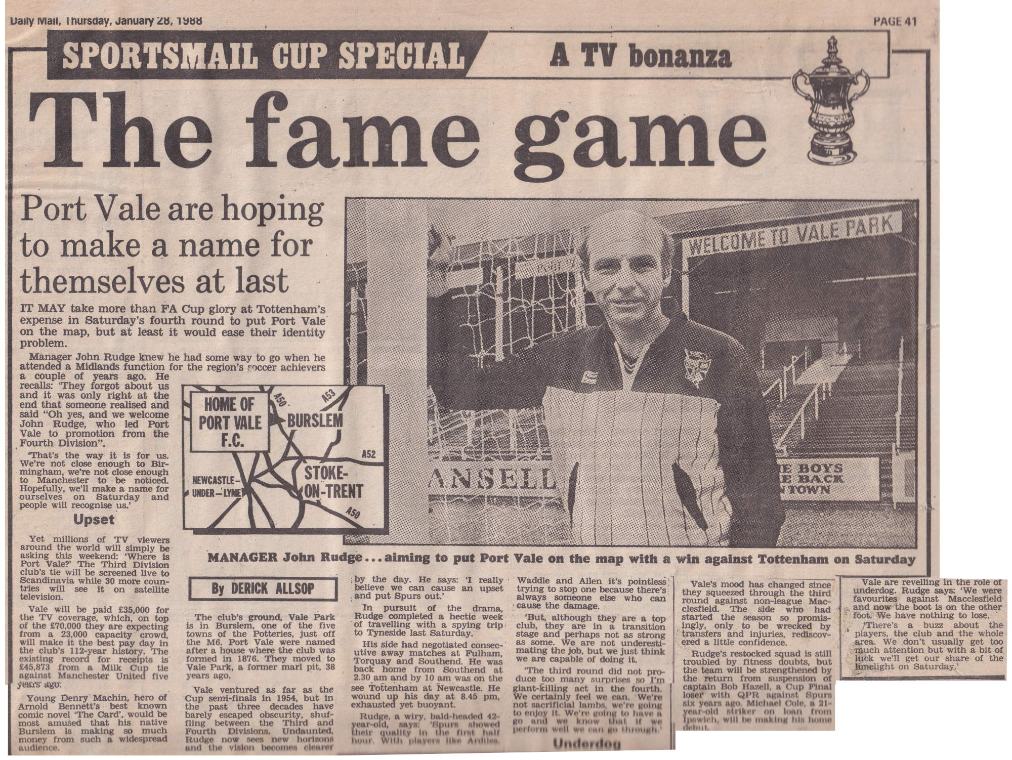 Daily Mail preview of the Port Vale v Tottenham Hotspur FA Cup game 1988