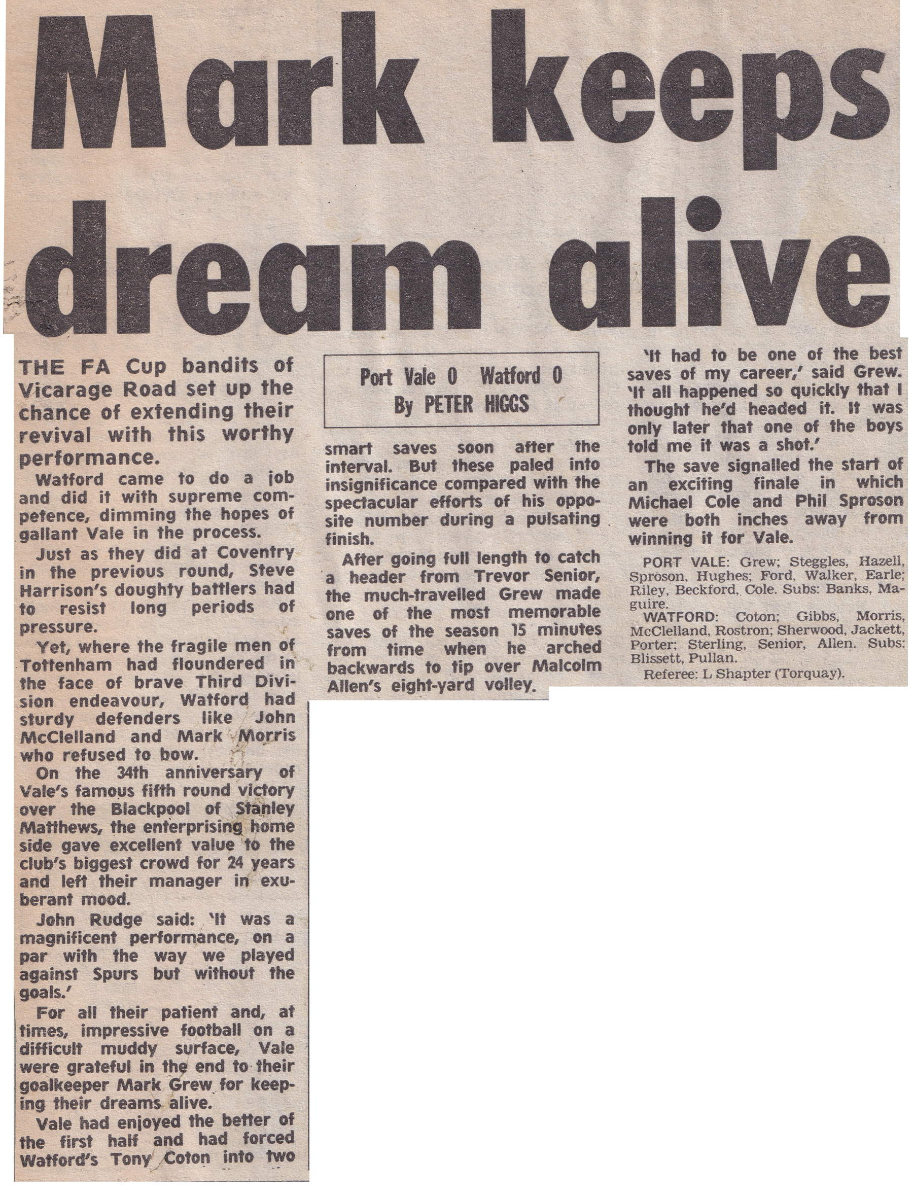 Port Vale 0-0 Watford, FA Cup 1988, match report