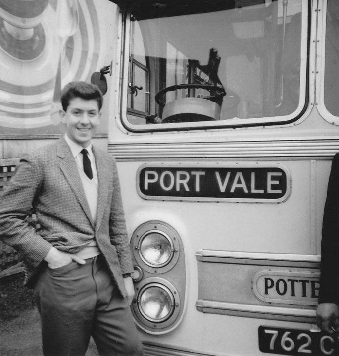 Ken Hancock in front of the Port Vale coach