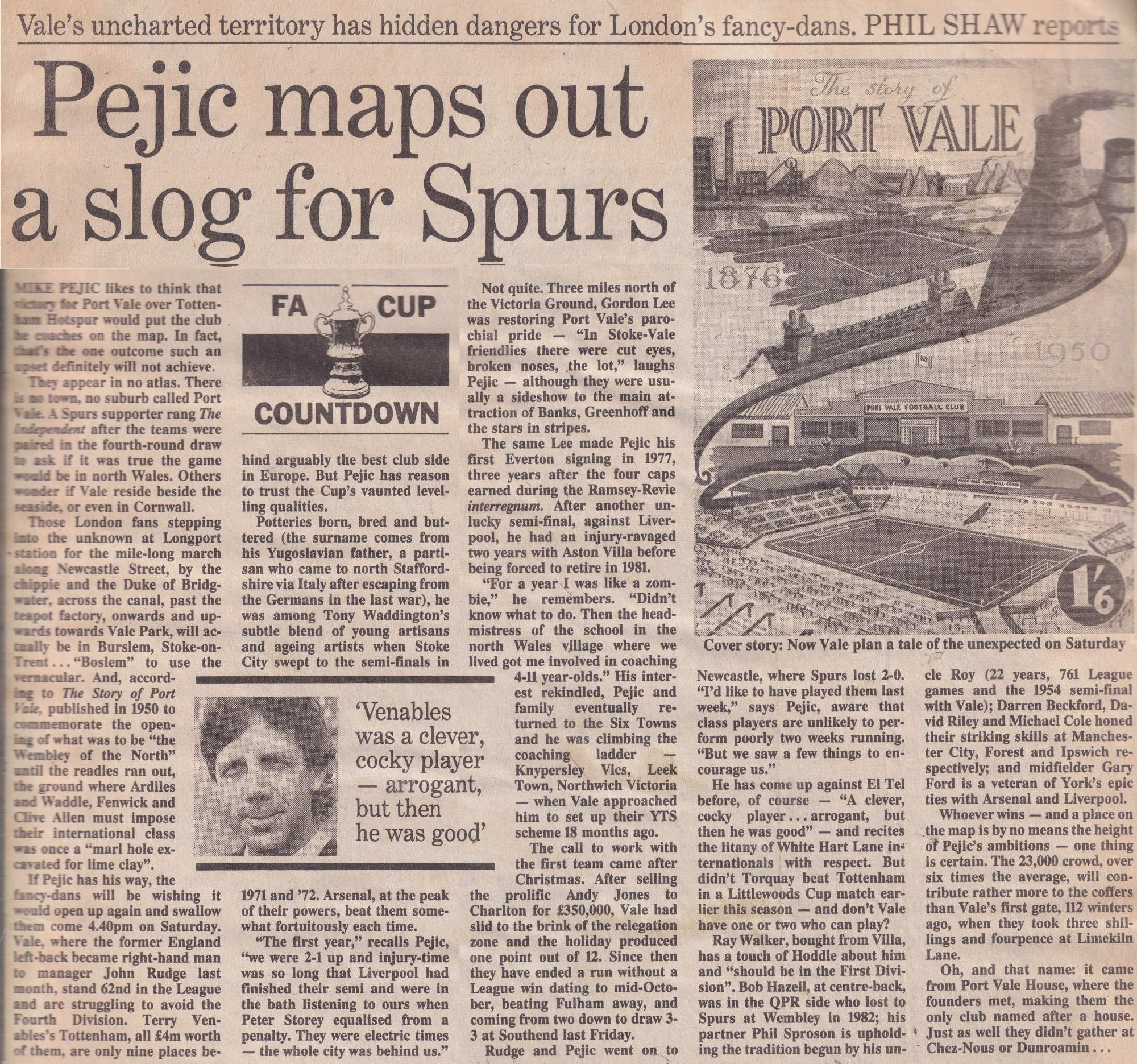 Independent preview of the Port Vale v Tottenham Hotspur FA Cup game 1988