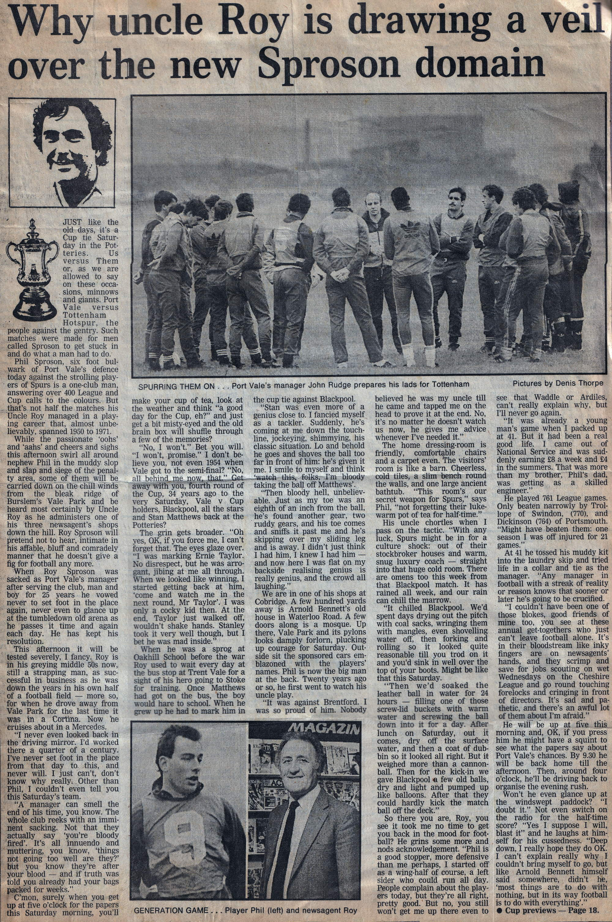 Roy and Phil Sproson preview