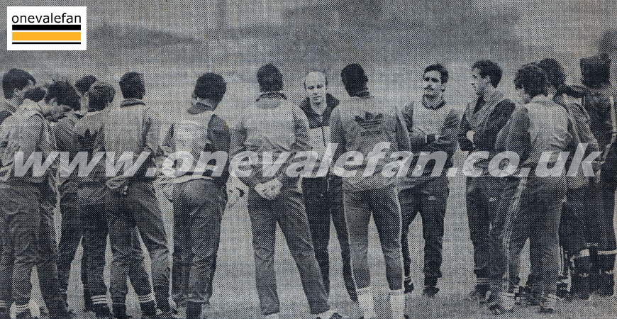 A Port Vale team talk before the cup game against Spurs in 1988