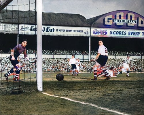 Port Vale in action in the 1954 FA Cup semi-final - colourised version