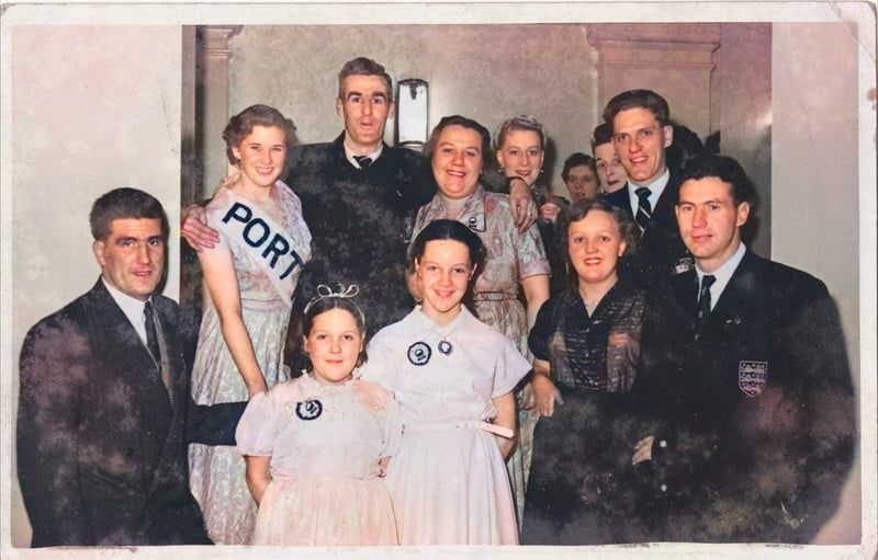 Port Vale players and fans - colourised version
