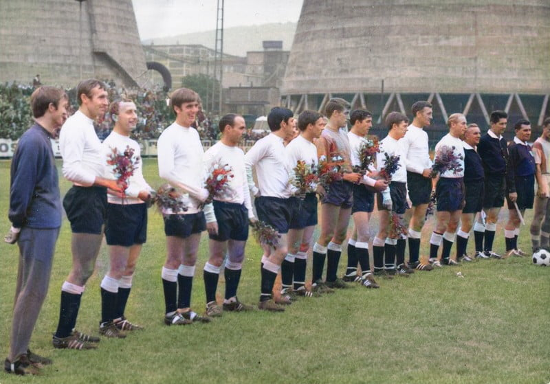 The Port Vale team lines up for the first friendly match at Gottvaldov - colourised version