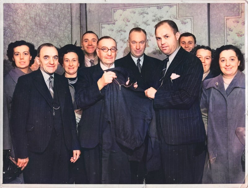 Manager Freddie Steele and club officials - colourised