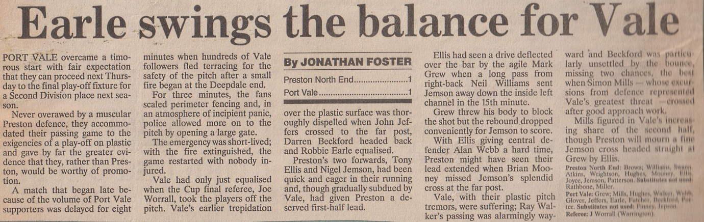 Preston 1-1 Port Vale