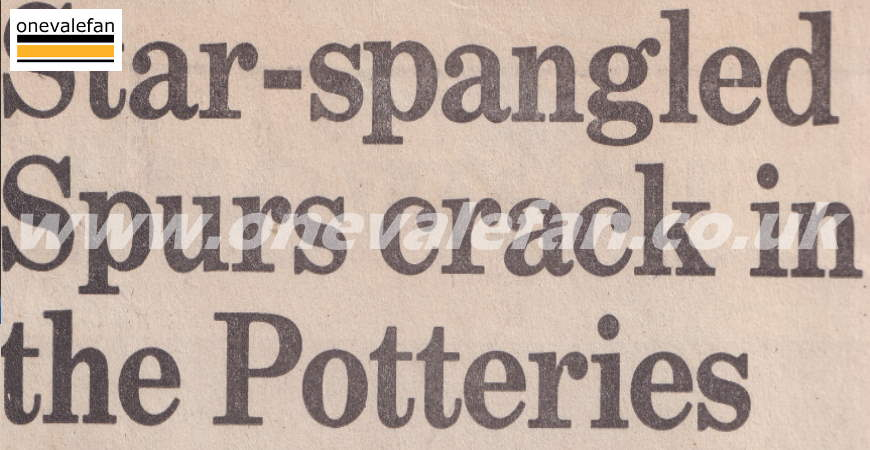 How the national press covered Port Vale's win over Spurs in 1988