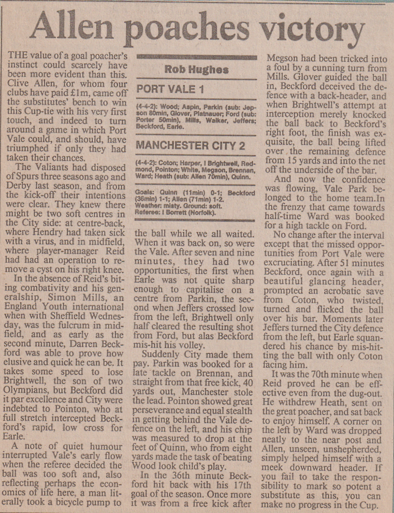 Port Vale 1-2 Man City 1991