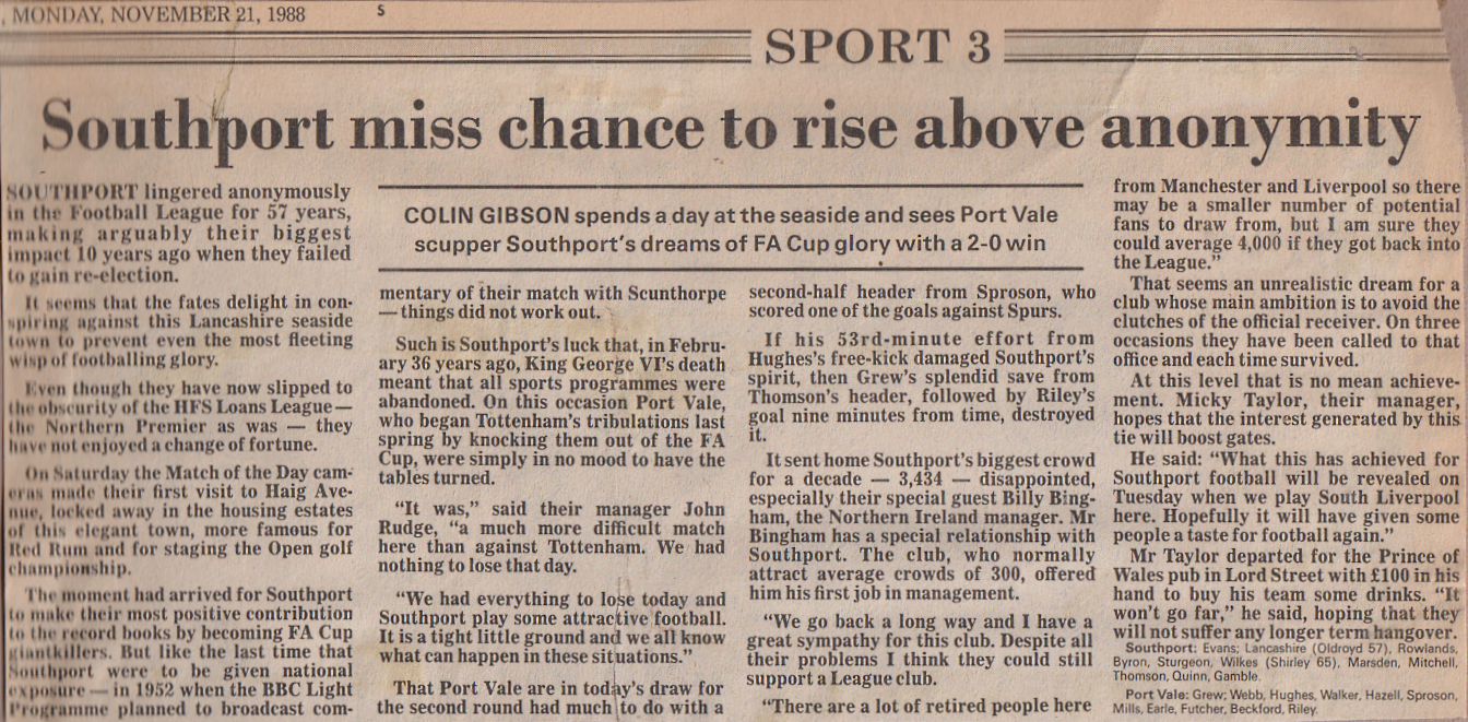 Southport v Port Vale press cutting