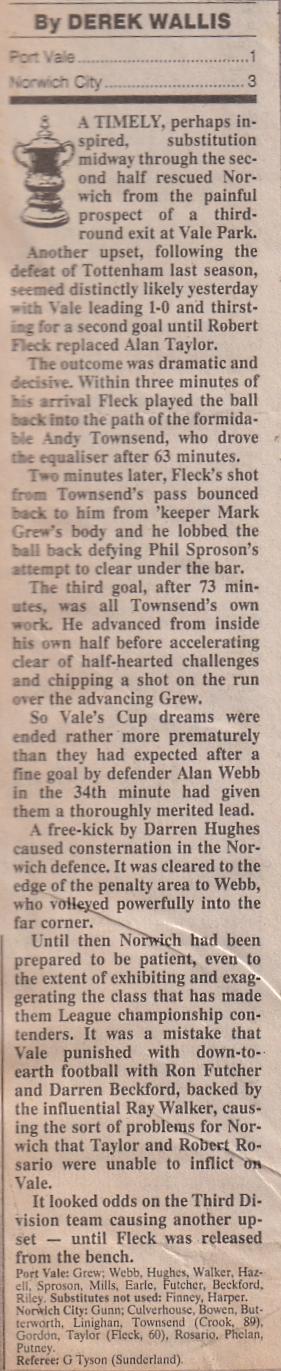 Port Vale 1-3 Norwich, FA Cup 1989
