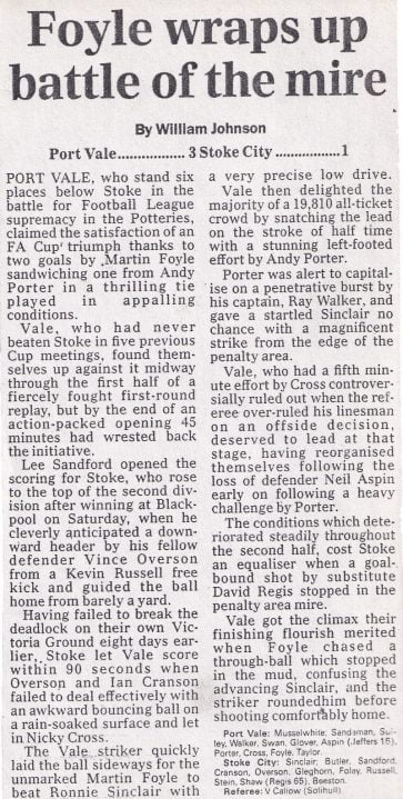 How the national press reported Port Vale's draw with Watford in 1988