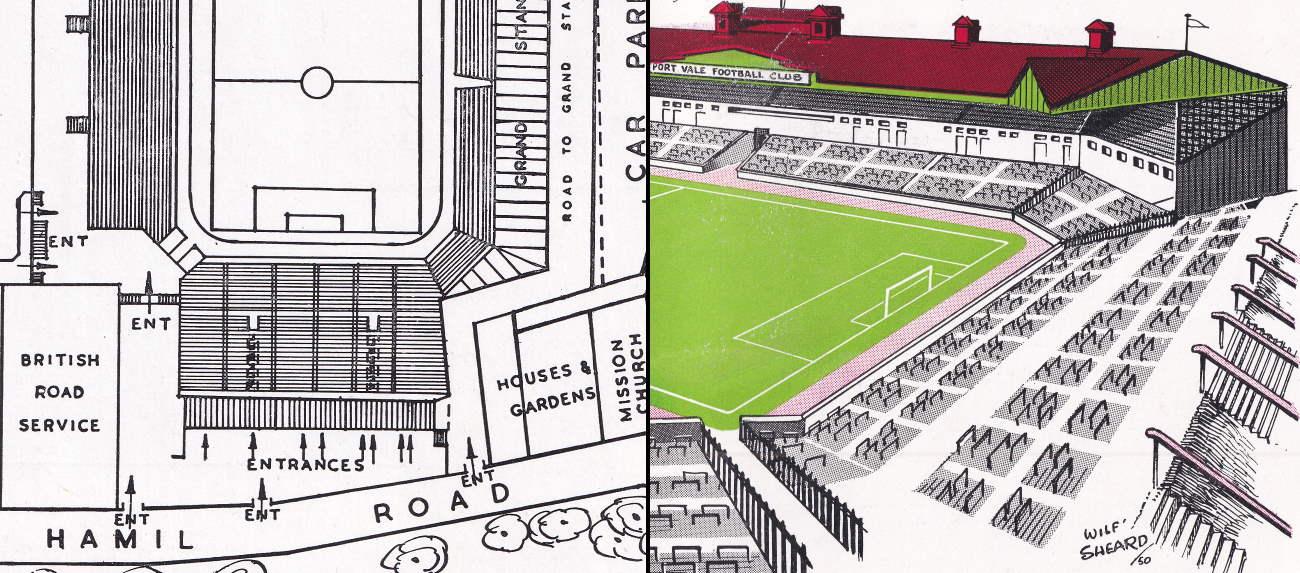 Split image: the plans and artist's impression of Vale Park's Hamil End