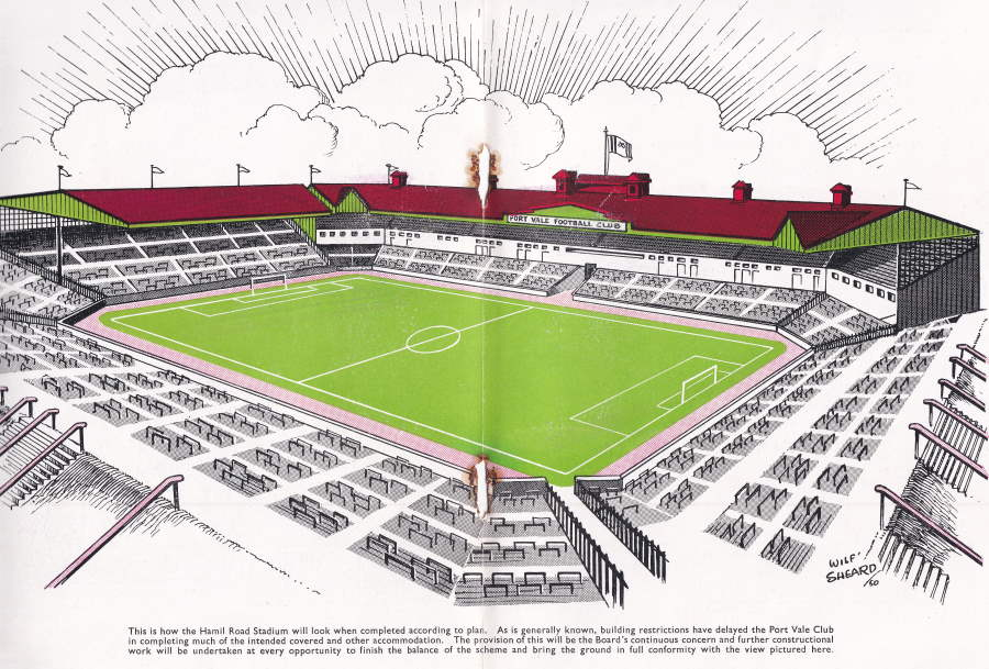 An artist's impression of the proposed Vale Park stadium - from the Story of Port Vale booklet, 1950