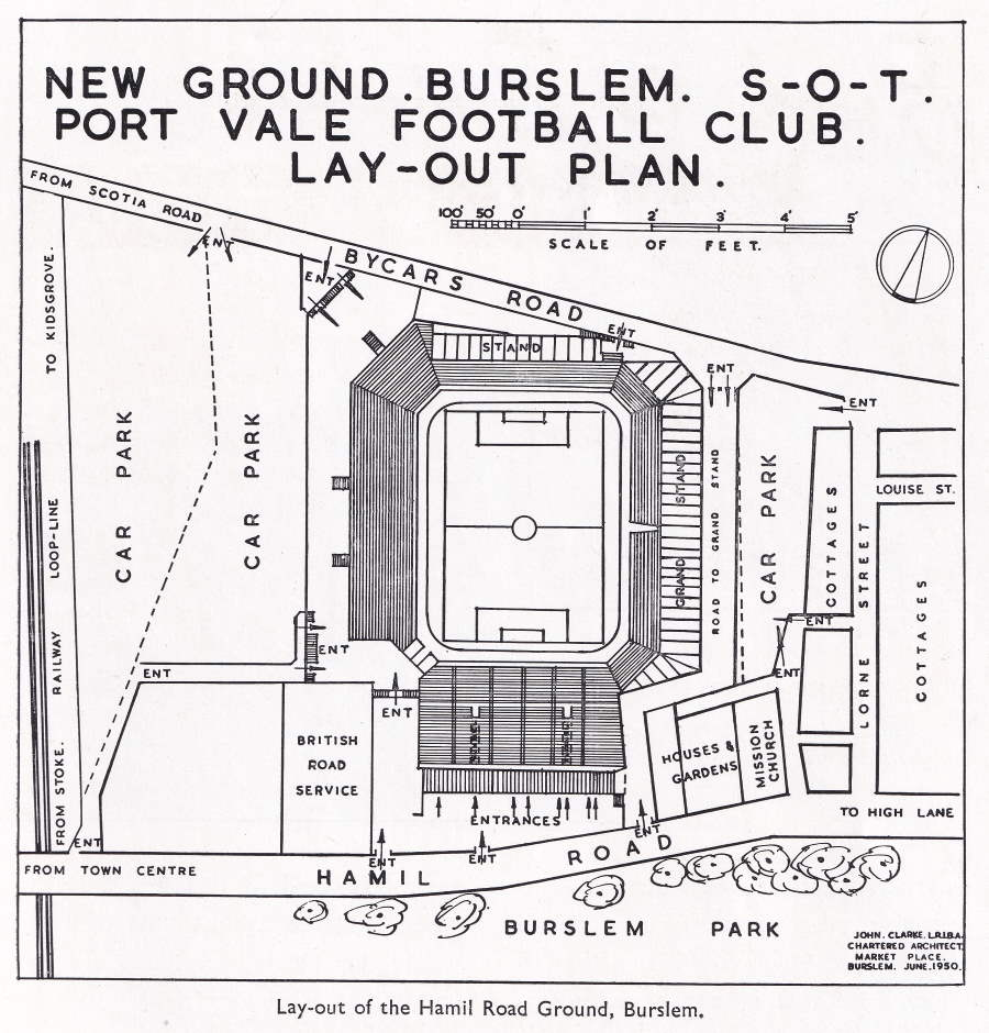 The 1950 plans show the huge scale of the planned Hamil End. A bank of terracing, enough to rival other side's Kop Ends was planned, but sadly due to lack of finances the plans were never realised.